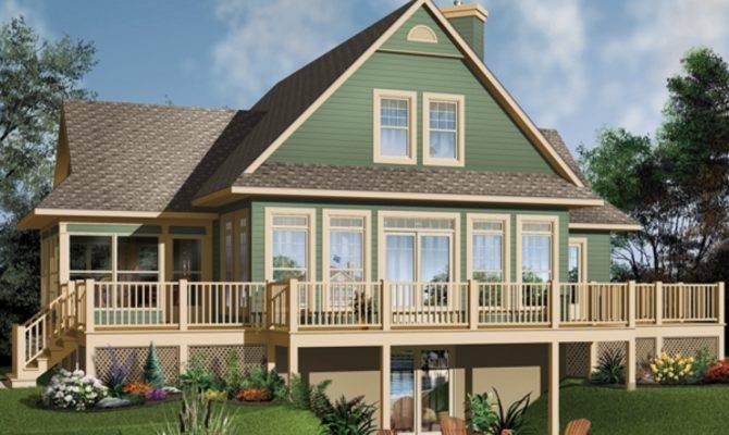 Lake House Plans Basement Wrap