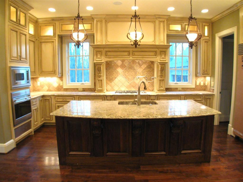 Large Kitchen Island Sink Feat White Cabinets Dark Wood House Plans 85684