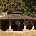 Large Riverside Gazebo Stone Fireplace Doe River Gorge
