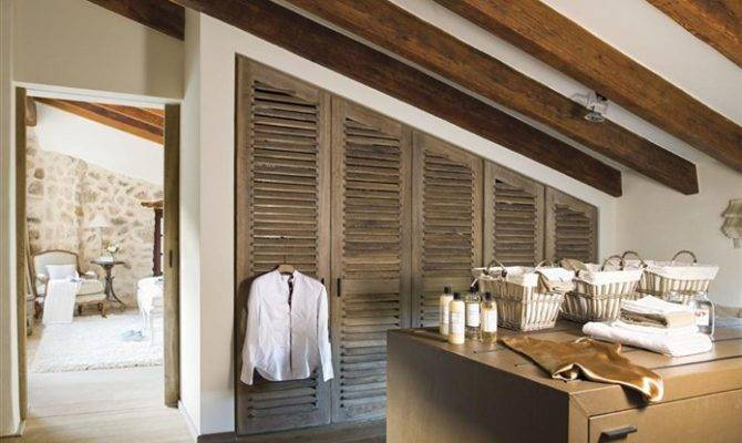 Laundry Closet Exposed Beams Old World Spanish Country Farm House
