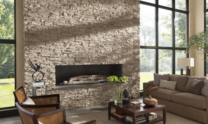 Living Room Comfy Stone Fireplaces Home Interior