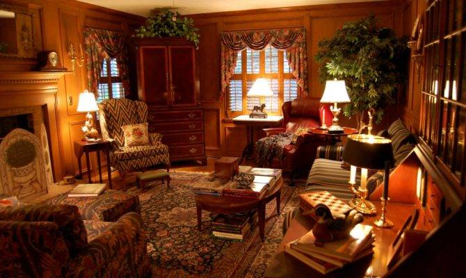 Living Room Decorated English Country Style Hunt Theme