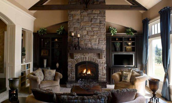 Living Room Gorgeous Stone Fireplaces Home Interior