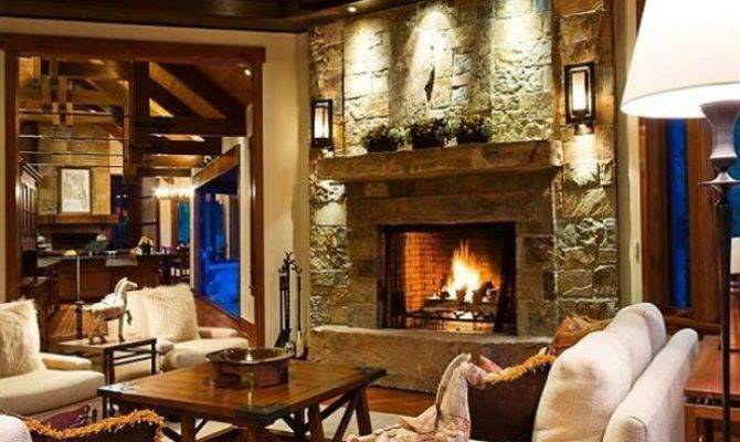 Living Room Modern Luxury Ranch Style Home Design
