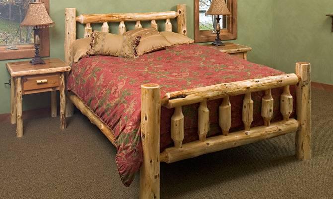 Log Bed Frames Large Cabin Wall Bedroom Design