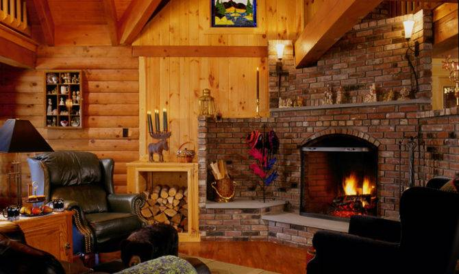 Log Home Fireplace Real Style