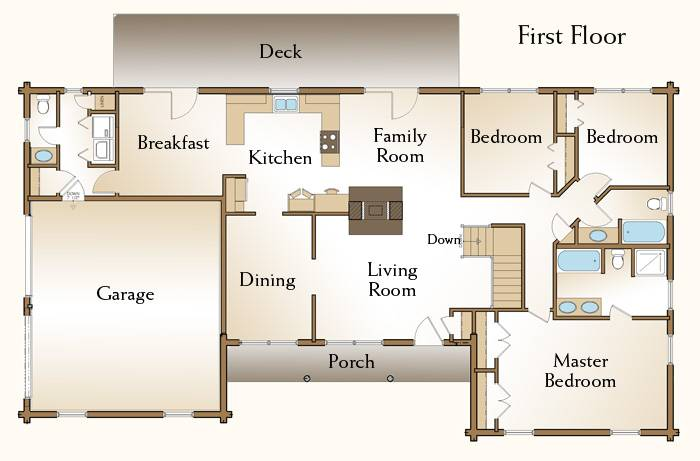 Log Home Floor Plan Bedroom Ranch House Plans 86126