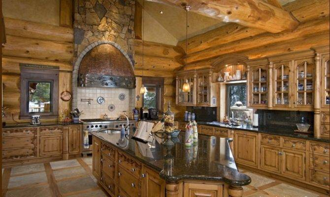 Log Home Kitchen Homes Mountain Cabins Pinterest
