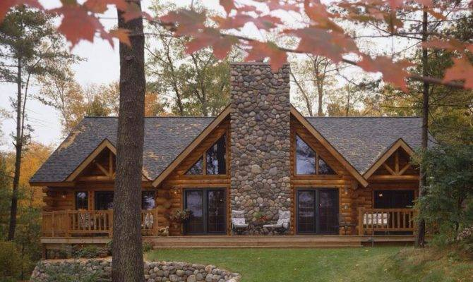 Log Home Stone House Love These