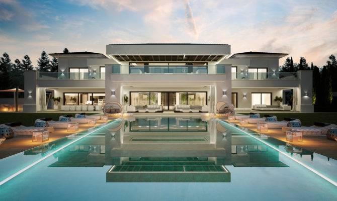 Luxurious Bedroom Spanish Home Indoor Outdoor Pools
