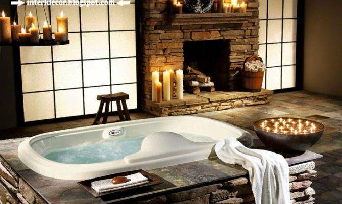 Luxury Bathroom Designs Fireplace Ideas