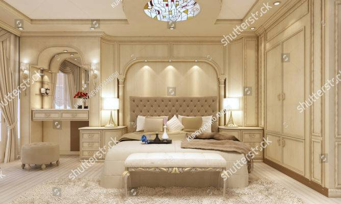Luxury Bed Large Neoclassical Bedroom Decorative