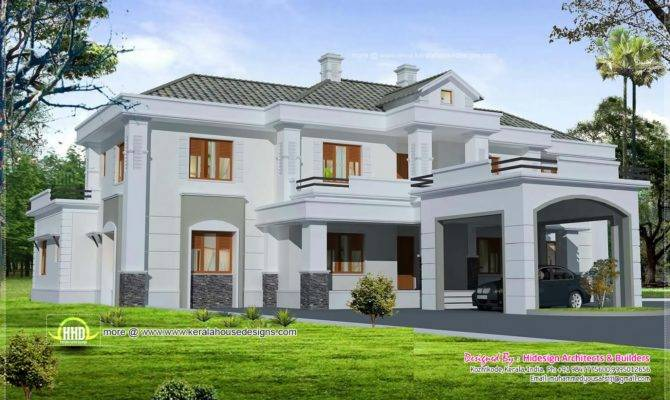 Luxury Colonial Style Home Design Court Yard Indian House Plans