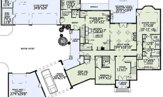 Luxury Home Plans Porte Cochere Design Style