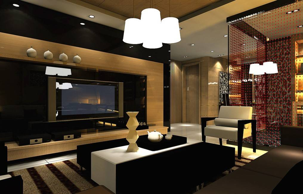 Luxury Living Room Night Scene Interior Design House Plans 21799