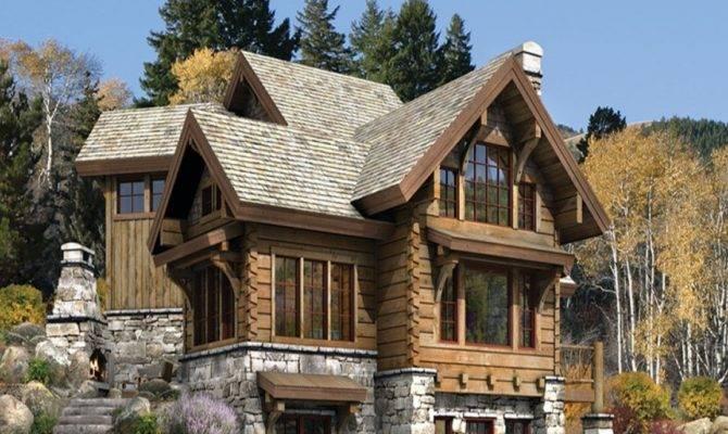 Luxury Log Stone Home Plans
