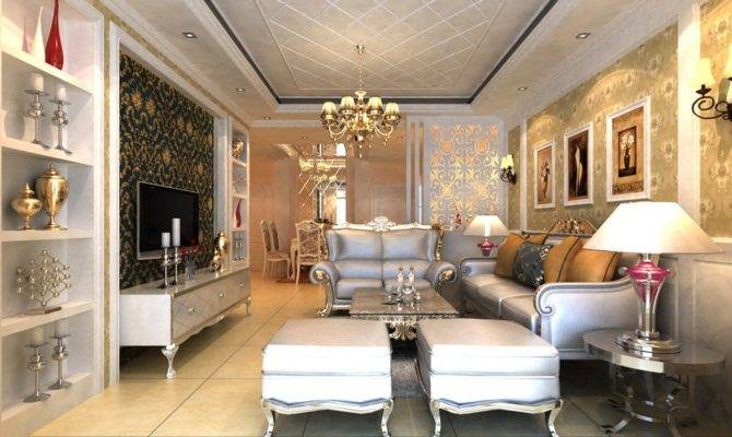 Luxury Villa Living Room Lighting Rendering European