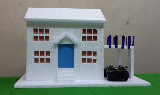 Make Thermocol Bungalow House Model School Project