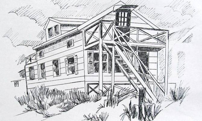 Manasquan Beach House Sketch Drawing Melinda Saminski
