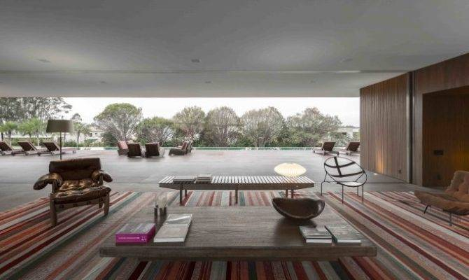 Marcio Kogan Casa Lee Concrete House Open Plan Indoor