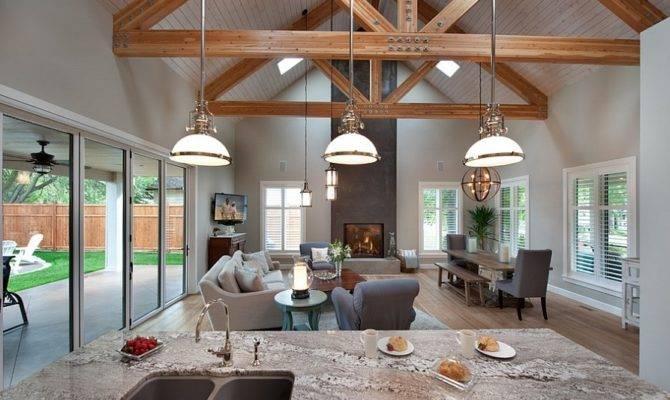 Marvellous Open Floor Plan Kitchen Dining Living Room Wooden Ceiling