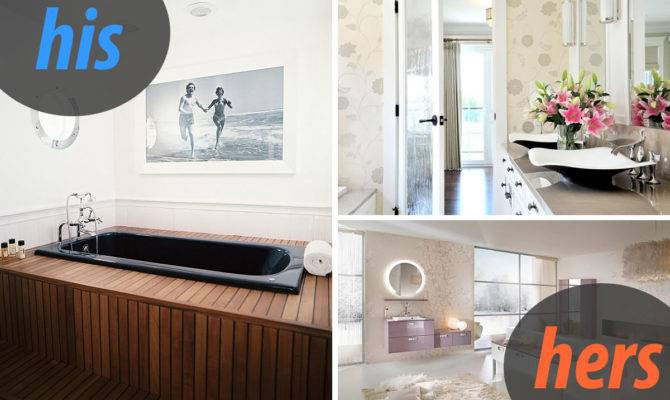 Masculine Female Loos His Hers Powder Rooms