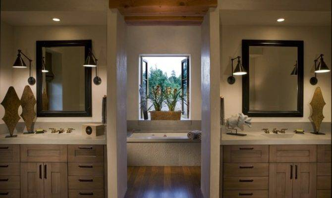 Master Bath His Her Concrete Counters Rustic