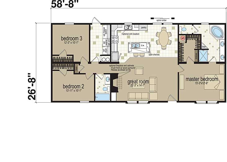 Master Bedroom Great Room Home Office Floor Plans Ideas House Plans 72387