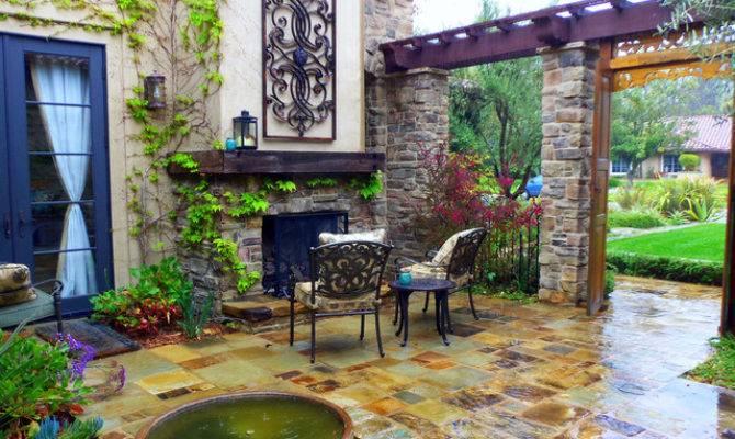 Mediterranean Courtyard Fireplace Patio