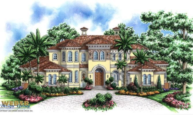 Mediterranean House Plan Story Waterfront Mansion Floor