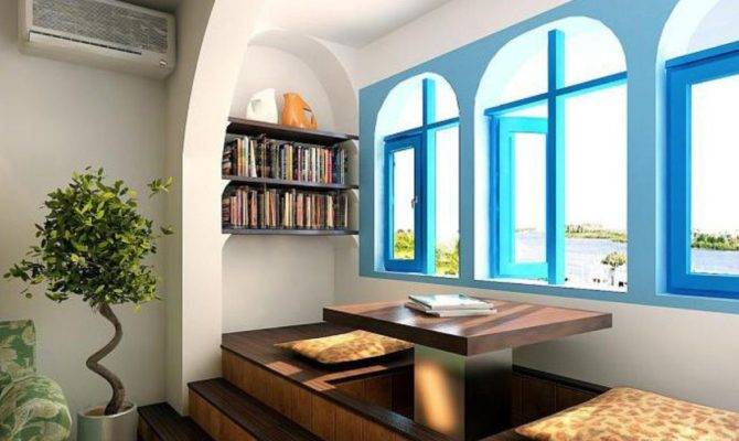 Mediterranean Interior Design Study Blue Windows
