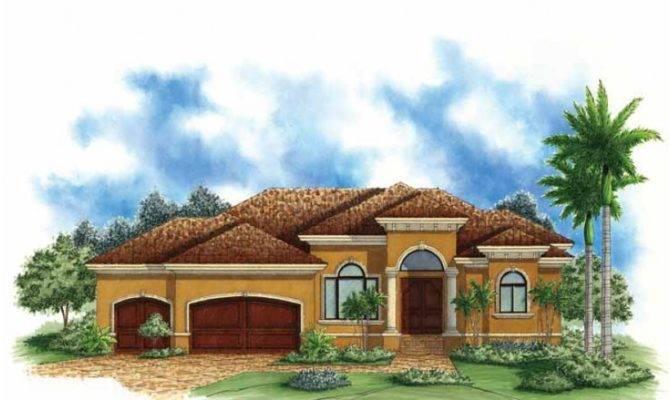 Mediterranean Modern House Plan Narrow Waterfront Home