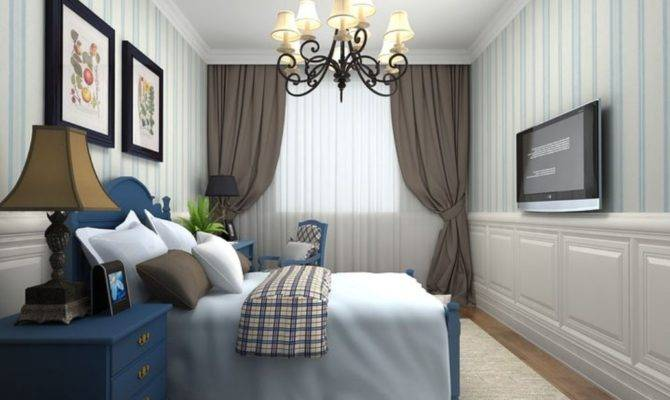 Mediterranean Style Bedroom Decorated Pale Blue