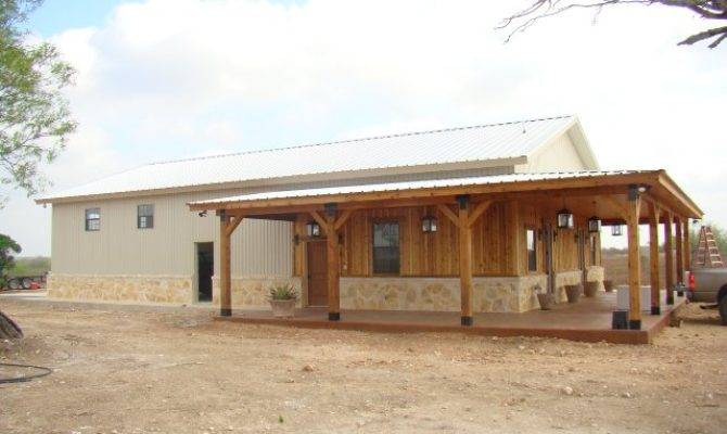 Metal Building Home Wooden Cover Porch