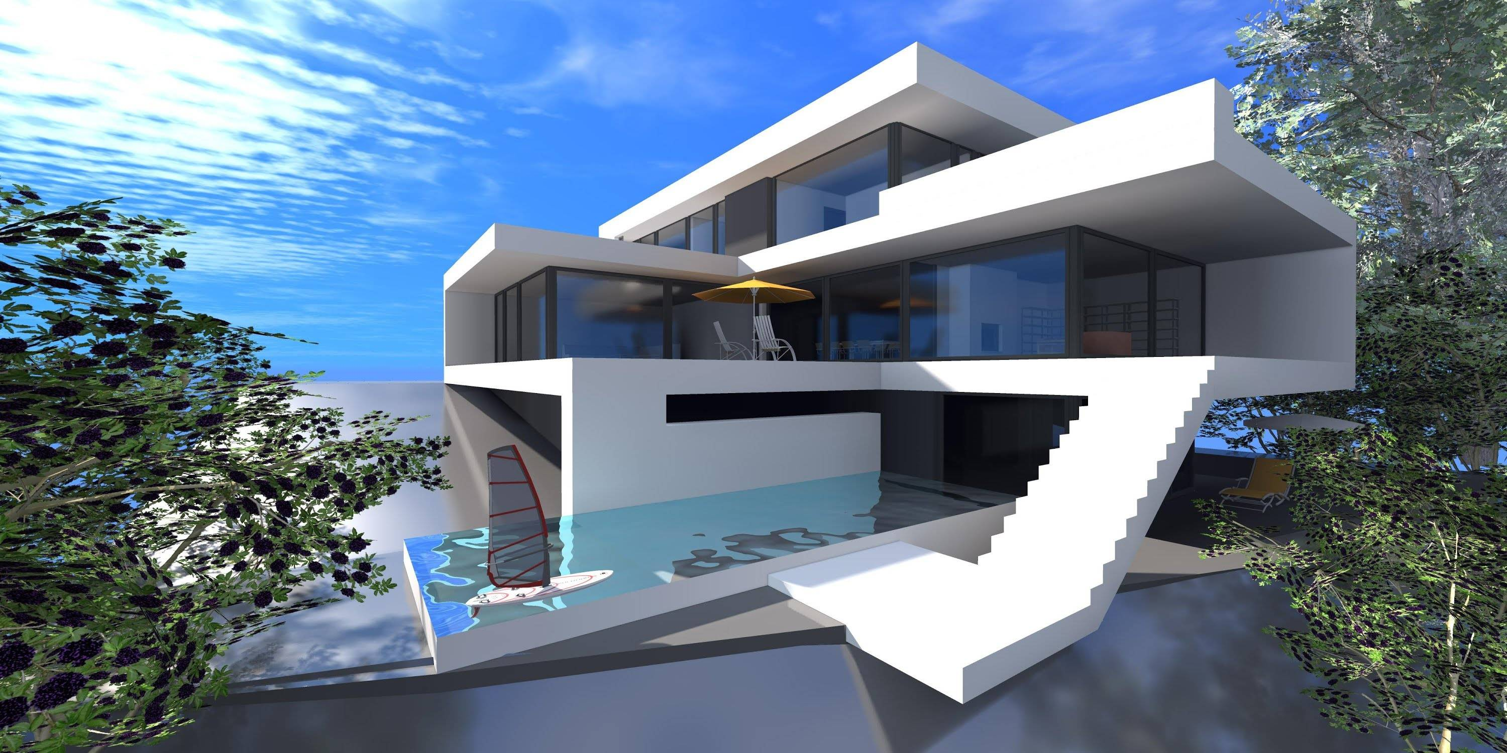Minecraft Modern House Landscaping Tutorial Youtube House Plans 75412