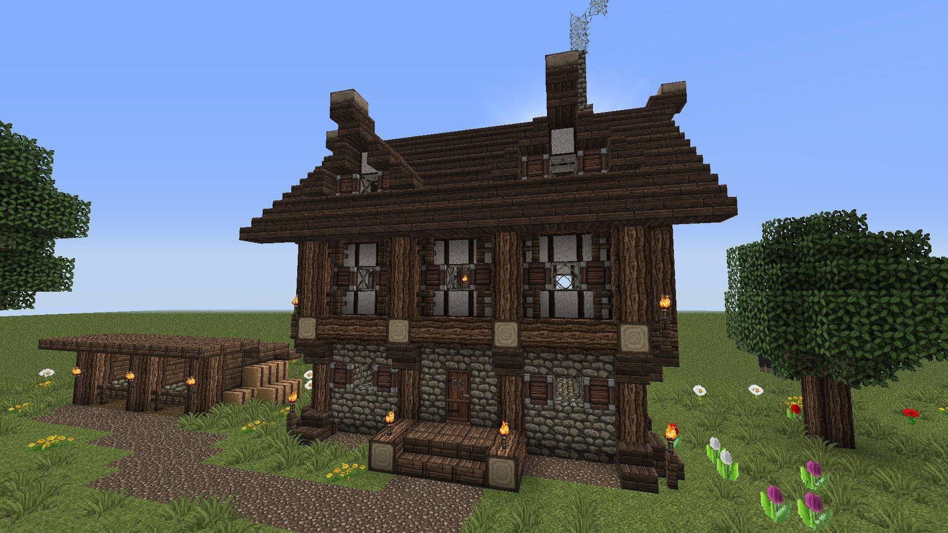 Minecraft Story Medieval House Horse Stablestutorial Youtube House Plans 45484