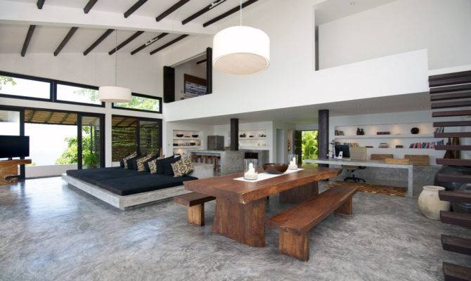 Minimalsit Open Plan Living Space Design Villa Interior
