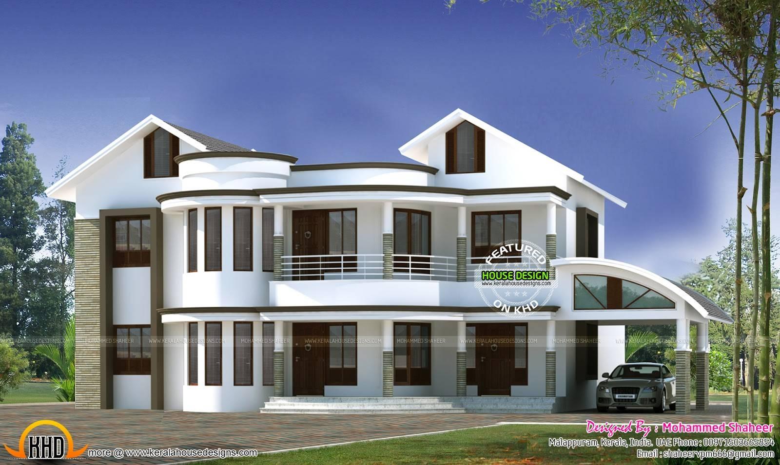 Mixed Roof Modern Home Kerala Design Floor Plans House Plans 3546