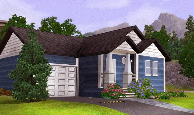 Mod Sims Blue Starter Home Fully Furnished Garage Below
