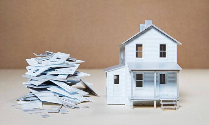 Model Miniature House Standing Next Pile Pieces Make