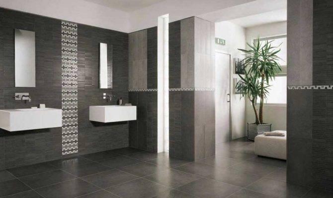 Modern Bathroom Floor Tile Ideas Black Color Home