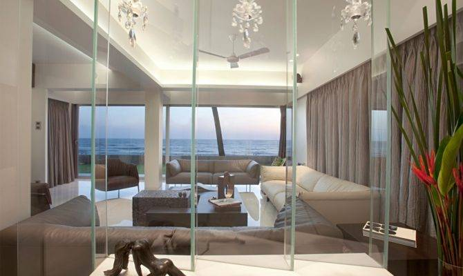 Modern Beach House Living Room Glass Design