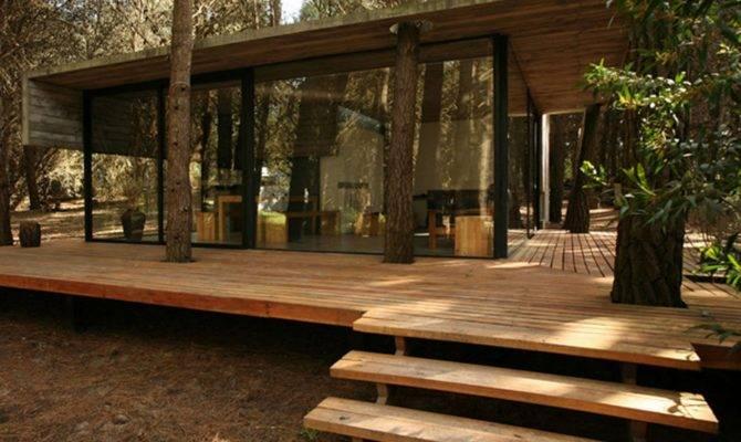 Modern Cabin Plans Unique Sloping Roof Design