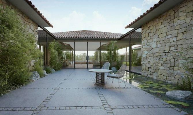 Modern Cottage Courtyard Design Roof Olpos