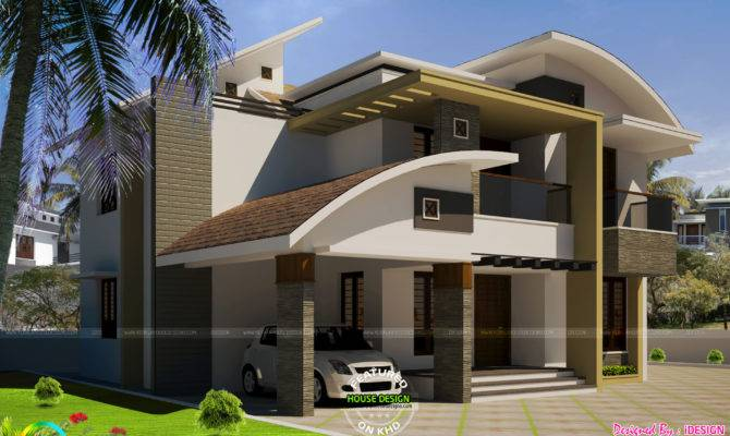 Modern Curved Roof Home Kerala Design