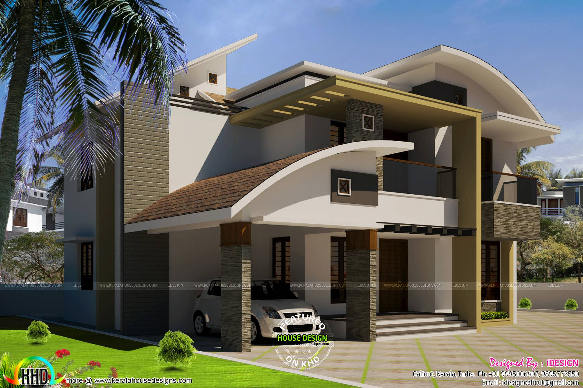 Modern Curved Roof Home Kerala Design House Plans 136255