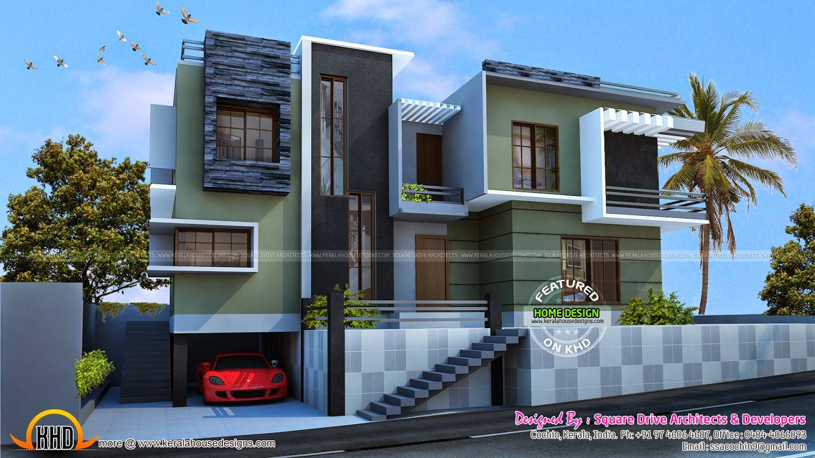 Modern Duplex House Kerala Home Design Floor Plans House Plans 60838