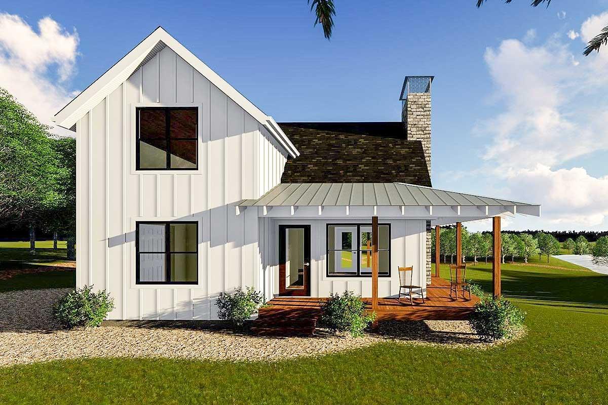 Modern Farmhouse Cabin Upstairs Loft House Plans 165320