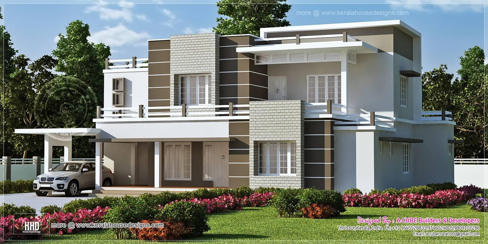 Modern Flat Roof House Design Kerala Buku House Plans 55444