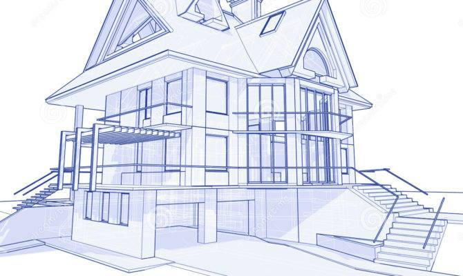 Modern House Blueprint Vector Illustration